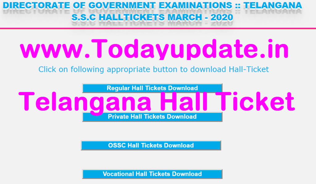 Telangana SSC 2020 Hall Ticket 2020
